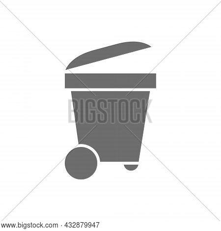Trash Bin, Trashcan, Waste, Garbage Grey Icon.