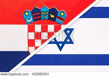 Croatia And Israel, Symbol Of Country. Croatian Vs Israeli National Flags.