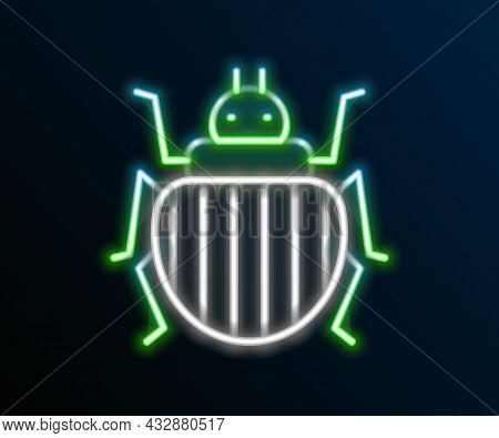 Glowing Neon Line Colorado Beetle Icon Isolated On Black Background. Colorful Outline Concept. Vecto