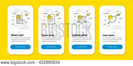 Vector Set Of Payment Card, Laptop Insurance And File Line Icons Set. Ui Phone App Screens With Line