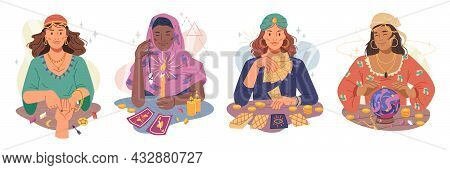 Fortune Tellers Set Isolated Flat Cartoon Women Guessing On Hand And Magic Ball, Telling On Stone An