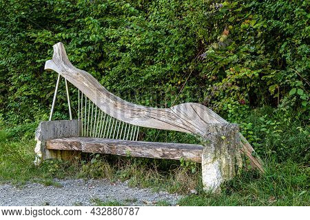 Stylish Bench In Essing At Altmuehl River Below The Ruins Of Randeck Castle, Bavaria, Germany In Eur