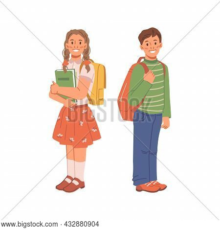 Portrait Of Children With Backpacks Isolated Flat Cartoon Characters, Back To School. Vector Two Tee