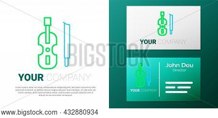 Line Violin Icon Isolated On White Background. Musical Instrument. Colorful Outline Concept. Vector