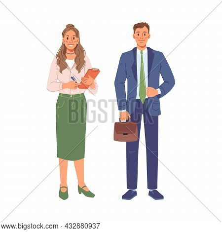 Young Business People Isolated Flat Cartoon Man And Woman. Vector Executive Workers In Suits, Happy