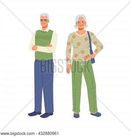 Mature Couple, Elderly Age Man And Woman Standing At Full Length Isolated Cartoon Characters. Vector