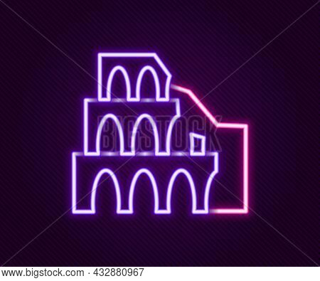 Glowing Neon Line Coliseum In Rome, Italy Icon Isolated On Black Background. Colosseum Sign. Symbol