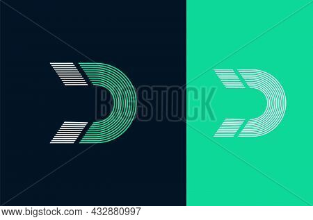 Letter D Magnet Shape Logo. Connection Of Lines, Vector Template. Modern Icon For Your Corporate Ide