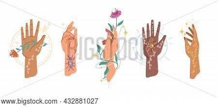 Magic Tattoo Signs Symbols On Hands, Healing Herbs Isolated Flat Cartoon Icons. Vector Magic Palms H