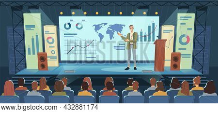 Modern Stage, Big Screen, Conference Speaker And Audience Flat Cartoon Background. Vector Lecture Ma