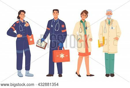 Doctors And Ambulance Workers Medical Staff, Man And Woman Flat Cartoon Characters Isolated. Vector