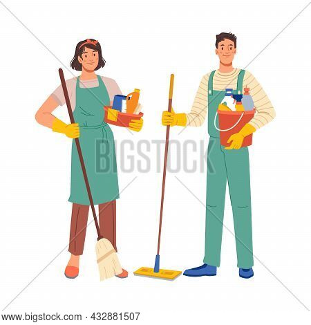 Cleaning Workers Isolated Flat Cartoon Characters Man And Woman In Uniform. Vector Professional Staf