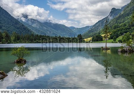 Watzmann Massif At Lake Hintersee At Ramsau In Berchtesgaden, Bavaria, Germany In Europe