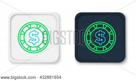 Line Casino Chip With Dollar Symbol Icon Isolated On White Background. Casino Gambling. Colorful Out