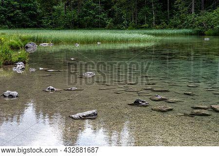 Morning View At Lake Hintersee At Ramsau In Berchtesgaden, Bavaria, Germany In Europe