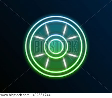 Glowing Neon Line Casino Chip Icon Isolated On Black Background. Casino Gambling. Colorful Outline C