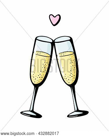 Vector Doodle Hand Drawn Illustration Of Two Champagne Glasses Couple Love Drink Cheers Wineglasses