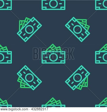 Line Stacks Paper Money Cash Icon Isolated Seamless Pattern On Blue Background. Money Banknotes Stac