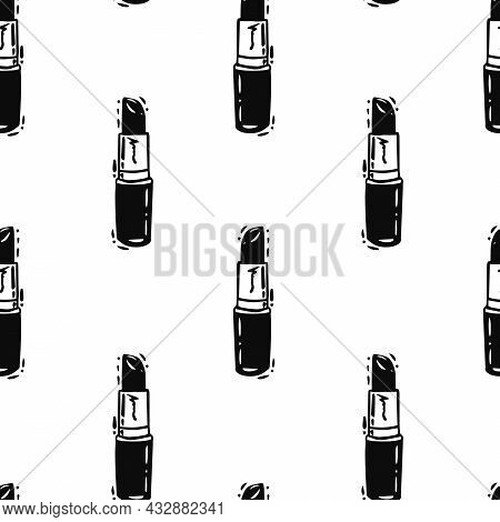 Vector Classic Black Lipstick Lineart On White Seamless Pattern Background. Perfect For Web Design F