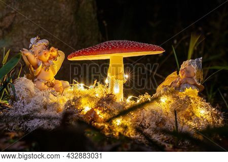 Fantasy Magical Mushrooms And Elfs In Enchanted Fairy Tale Dreamy Elf Forest With Fabulous Fairytale