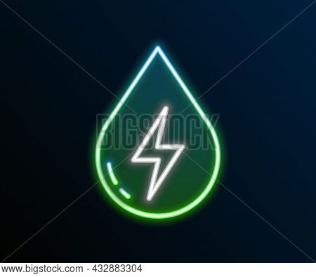 Glowing Neon Line Water Energy Icon Isolated On Black Background. Ecology Concept With Water Droplet