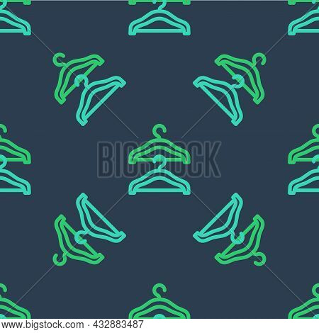 Line Hanger Wardrobe Icon Isolated Seamless Pattern On Blue Background. Cloakroom Icon. Clothes Serv
