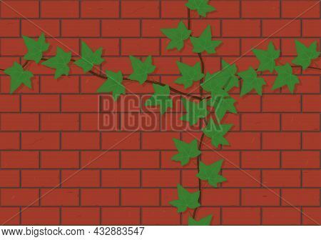 Seamless Red Brick Wall With Ivy Vine Background Vector Illustration