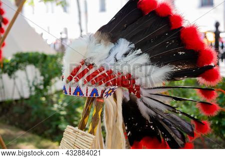 Roach - Traditional Native American Male Headdress At Summer Outdoor Historical Festival: Close Up -
