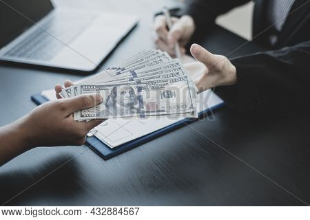 The Owner's Business Personally Signed The Deal Closing The Deal By Accepting Bribes. The Concept Of