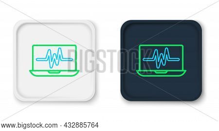 Line Laptop With Cardiogram Icon Isolated On White Background. Monitoring Icon. Ecg Monitor With Hea