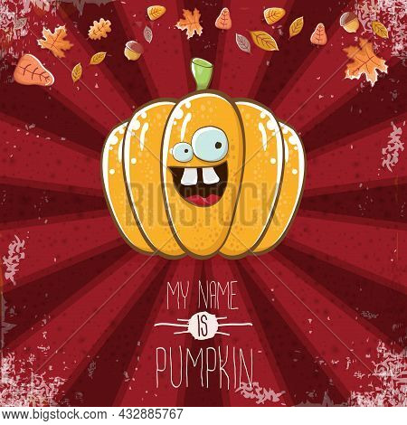 Vector Funny Cartoon Cute Orange Smiling Pumkin Isolated On Red Background. My Name Is Pumkin Vector