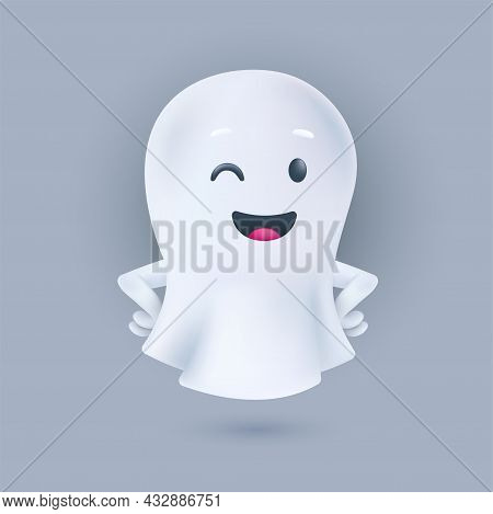 Smiling And Winking Ghost With Hands On The Sides Pose. Friendly Phantom Icon. Happy Halloween 3d Ch