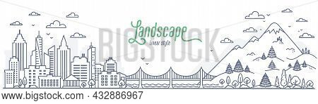 Cityscape Vs Suburb Mountains And Hills. Concept Of A City And Suburban Life. Outline Style Vector I
