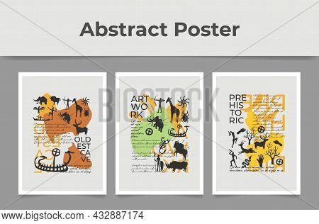 Set Of Abstract Posters With Prehistoric Ornament Vector Flat. Collection Of Art Wallpaper Decor