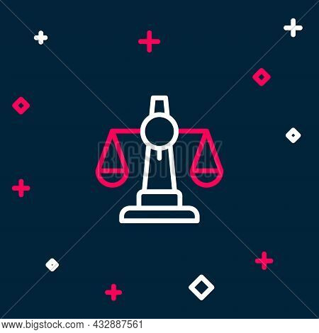 Line Scales Of Justice Icon Isolated On Blue Background. Court Of Law Symbol. Balance Scale Sign. Co