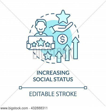 Increasing Social Status Blue Concept Icon. Display Wealth And Possessions. Excessive Buying Abstrac
