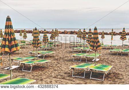 Italy, A Deserted Bathing Establishment On The Ligurian Coast. High Quality Photo