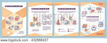 Consumerism Brochure Template. Excessive Purchasing. Flyer, Booklet, Leaflet Print, Cover Design Wit