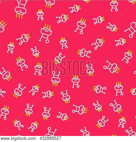 Line Barbecue Grill Icon Isolated Seamless Pattern On Red Background. Bbq Grill Party. Vector