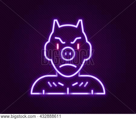 Glowing Neon Line Krampus, Heck Icon Isolated On Black Background. Horned Devil. Traditional Christm