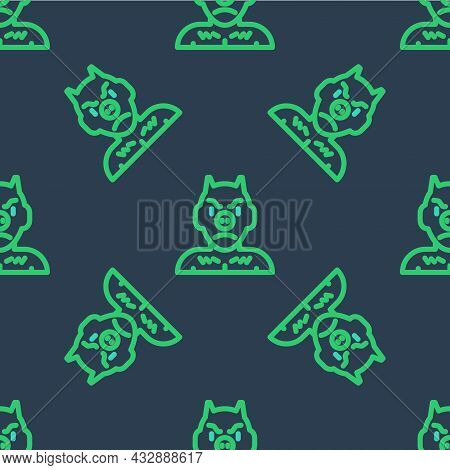 Line Krampus, Heck Icon Isolated Seamless Pattern On Blue Background. Horned Devil. Traditional Chri