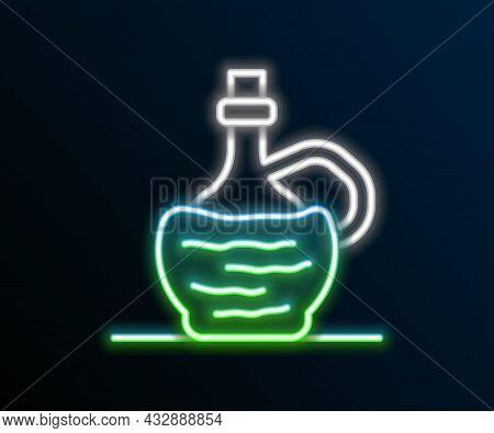 Glowing Neon Line Wine In Italian Fiasco Bottle Icon Isolated On Black Background. Wine Bottle In A