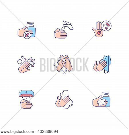Hand Washing Steps Rgb Color Icons Set. Removing Germs From Hands. Applying Soap And Disinfectant. R