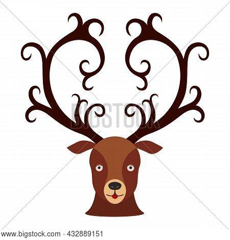 Deer Head. Vector Illustration Of A Deer Head With Curly Horns.