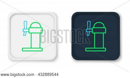 Line Dispenser Beer Icon Isolated On White Background. Beer Wide Tower With Tap. Colorful Outline Co