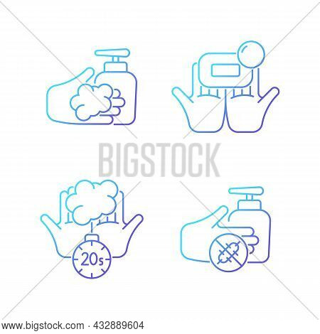 Hand Hygiene Gradient Linear Vector Icons Set. Wash With Brick Soap. Antimicrobial Skin Cleanser. Sc