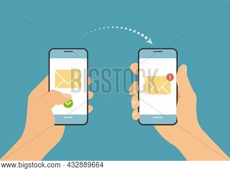 Flat Design Illustration Of A Hand Holding A Smartphone And Sending A Text Message Or Email. Notific