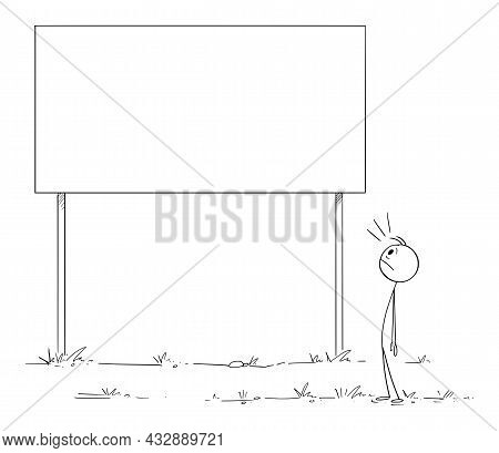 Person Looking Shocked On Empty Copy Space Billboard Sign, Vector Cartoon Stick Figure Illustration