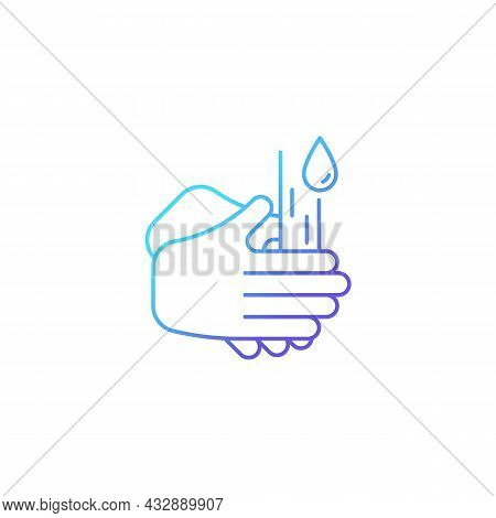 Rub Palms Together Gradient Linear Vector Icon. Rinsing Hands Under Cold Running Water. Killing Germ