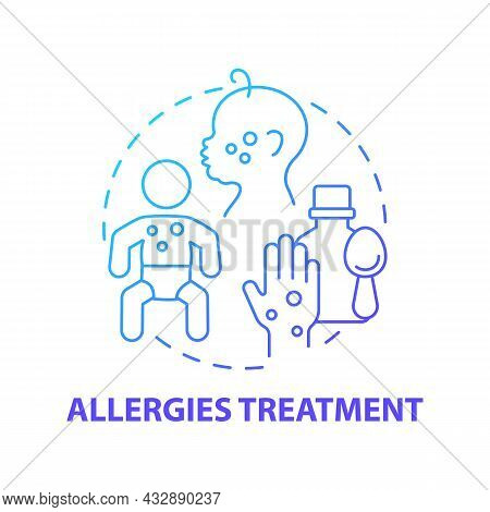 Allergies Treatment Blue Gradient Concept Icon. Allergy Reaction Relief Abstract Idea Thin Line Illu
